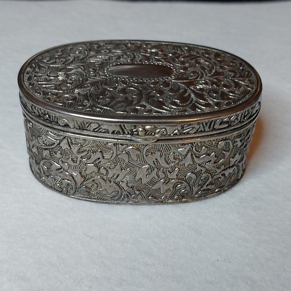 Vintage Silver Metal Trinket Box